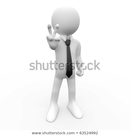 3D human by the symbol of victory with his fingers stock photo © texelart