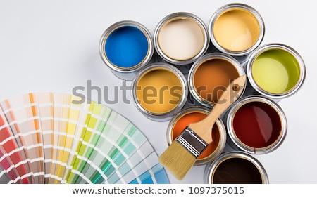 Konzerv festékes flakon kék festék fehér fém Stock fotó © mblach