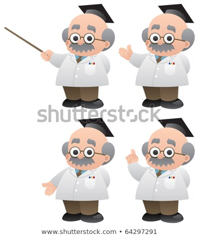 Cartoon of bald professor pointing Stock photo © antonbrand