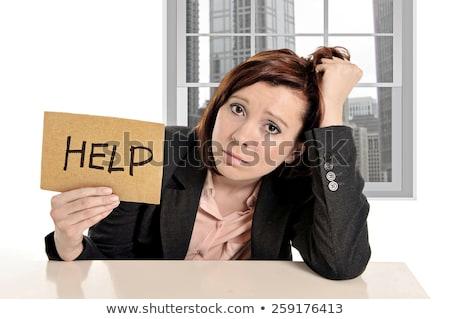 Stock fotó: Túlhajszolt · recepciós · szemüveg · notebook · fehér · titkárnő