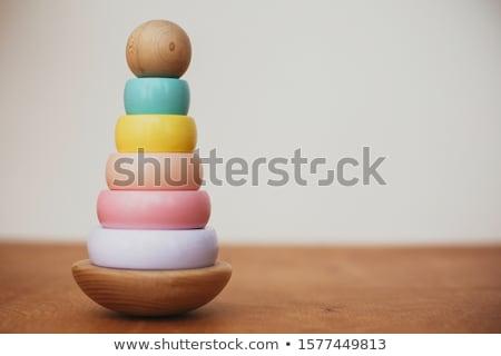 Foto stock: Brinquedo · de · madeira · isolado · branco · homem · menino · brinquedo