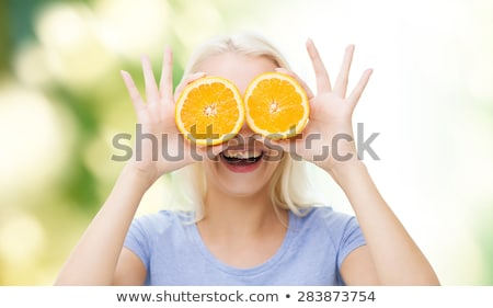 Meisje oog orange slice kind glas oranje Stockfoto © photography33