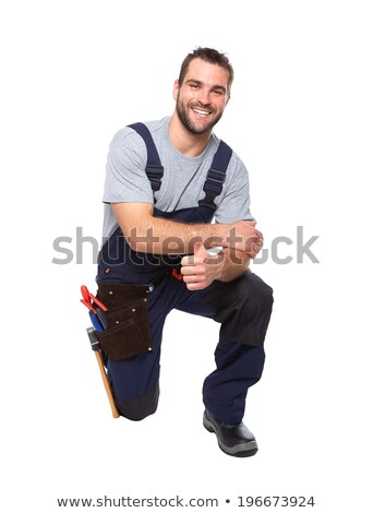 Kneeling workman, isolated on white background Stock photo © photography33