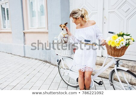 blond · weißen · Kleid · ziemlich · tragen · schwarz · Frau - stock foto © zdenkam