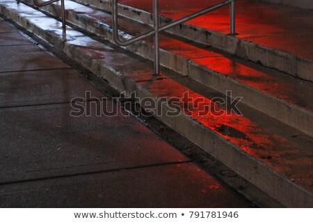 escuro · metal · escada · noite · trem - foto stock © bobbigmac