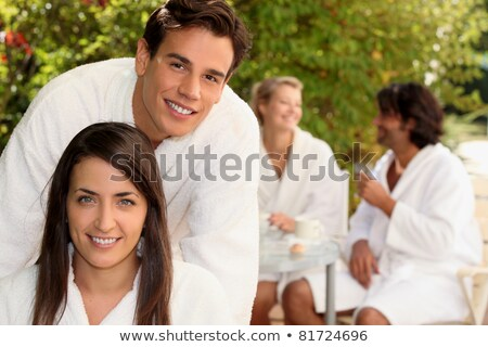 Couple sat in the front yard Stock photo © photography33