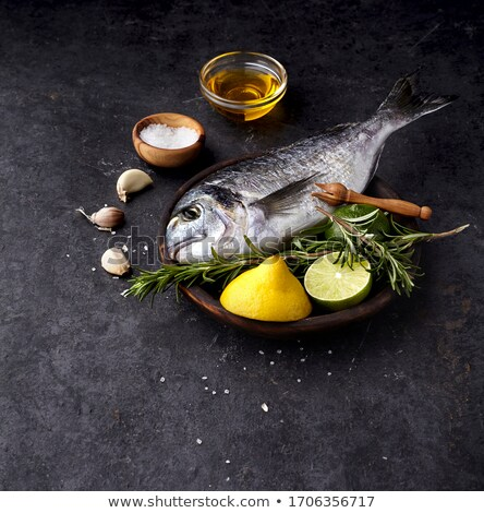 ruw · vis · bestanddeel · voedsel · citroen · kok - stockfoto © M-studio
