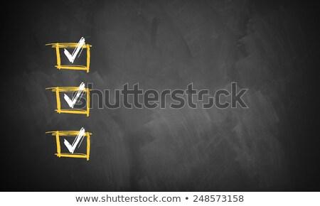 csekk · dobozok · iskolatábla · három · rajzolt · kréta - stock fotó © bbbar