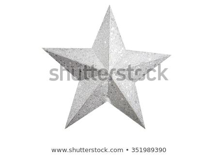 Foto stock: Decorativo · plata · estrellas · ornamento · árbol · de · navidad · verde