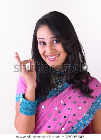 Beautiful Indian happy  woman in pink sari Stock photo © ziprashantzi