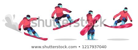 Snowboarder descends a slope stock photo © BSANI
