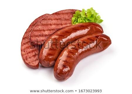Cut · копченый · колбаса · частей · белый · мяса - Сток-фото © arsgera
