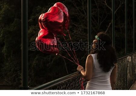mulher · de · volta · câmera · branco - foto stock © stockyimages
