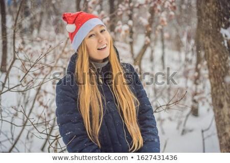 seksi · mavi · Noel · şapka · noel · baba - stok fotoğraf © artush