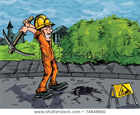 Road-worker with pick-axe Stock photo © photography33