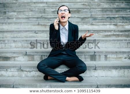 boos · zakenvrouw · iemand · tonen · manier · uit - stockfoto © vankad