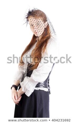 Portre genç güzel kadın siyah peçe Stok fotoğraf © Fernando_Cortes