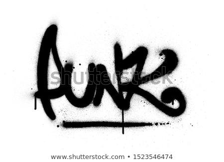 Punk graffiti pracy napisany czerwony murem Zdjęcia stock © stevanovicigor