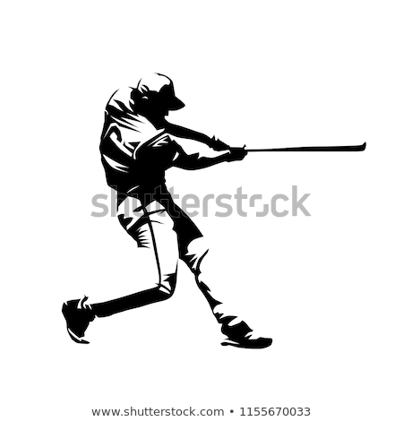 Cartoon Baseball Player Swinging Bat Design Stock photo © chromaco