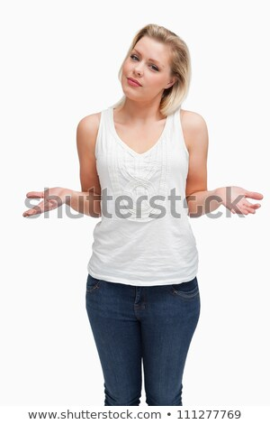Blonde woman extending her forearms against a white background Stock photo © wavebreak_media