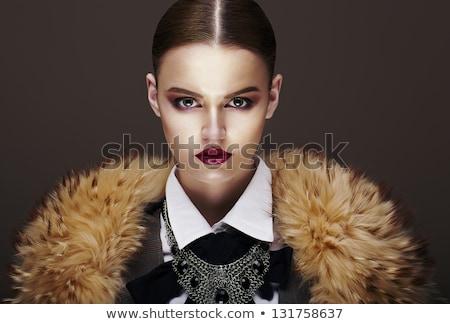 Beautiful Fashionable Strict Fashion Model In Fur Coat Luxury Zdjęcia stock © Gromovataya