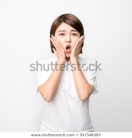 tímido · asiático · menina · sorridente · retrato - foto stock © stockyimages