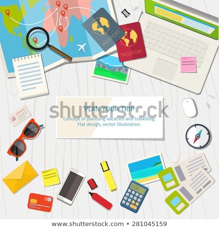 laptop · iránytű · térkép · kicsi · földrajz · számítógép - stock fotó © Mikko