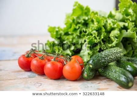 Koktélparadicsom káposzta levél nyers zöldségek egészség Stock fotó © lunamarina