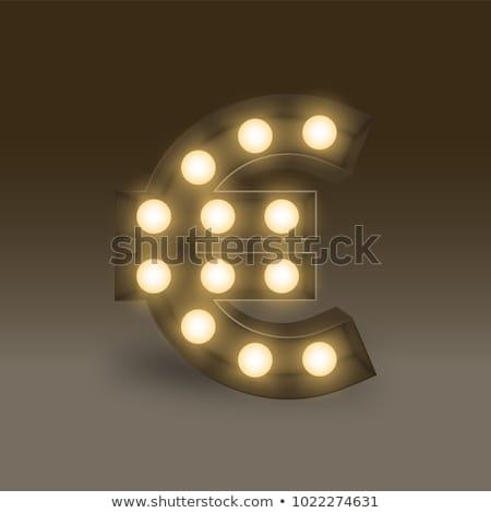 3D ampul euro simge altın mavi Stok fotoğraf © vladodelic