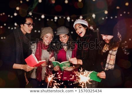 karácsony · vágási · körvonal · művészet · dobok · rajz · énekel - stock fotó © lenm