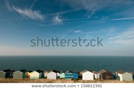 Plaj kulübe karşı mavi deniz ahşap gemi Stok fotoğraf © tainasohlman