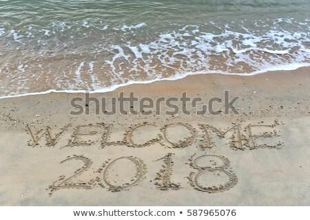 bem-vindo · escrito · praia · arenoso · praia · tropical · textura - foto stock © alekleks