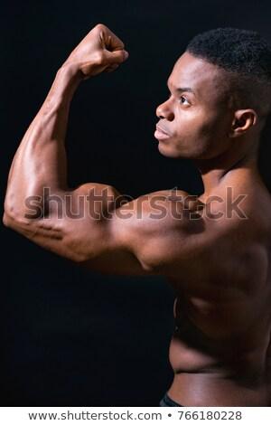 Topless man armen jonge man tonen af Stockfoto © feedough