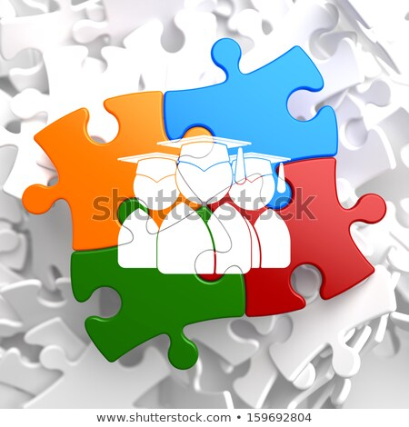 Group of Graduates Icon on Multicolor Puzzle. Stock photo © tashatuvango