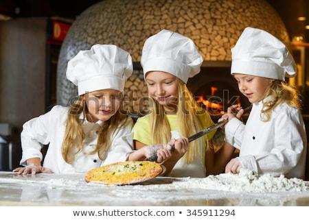 Meisje pizza meisje licht Stockfoto © gewoldi