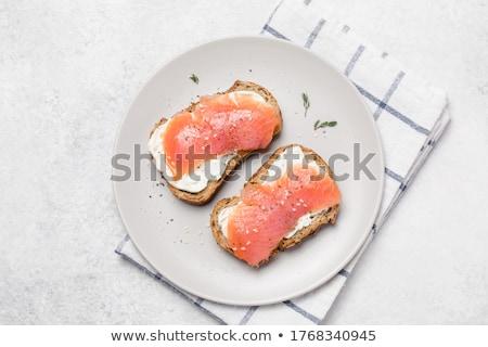 Bruschetta pane salmone pesce cena sandwich Foto d'archivio © M-studio