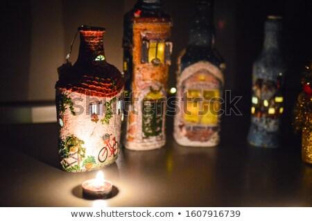 christmas · kieliszek · dekoracji · dziewczyna · szkła · niebieski - zdjęcia stock © filipw