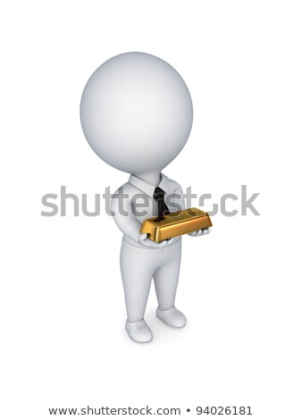 3d small people - gold ingot Stock photo © AnatolyM