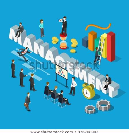 3D iş adamları büyük saat işadamı erkekler Stok fotoğraf © designers