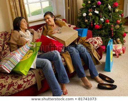 Foto stock: Hispanos · madre · hija · Navidad · compras