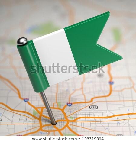 Nijerya küçük bayrak harita seçici odak arka plan Stok fotoğraf © tashatuvango