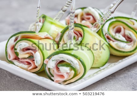 Appetizer of cheese, ham and cucumber Stock photo © raphotos