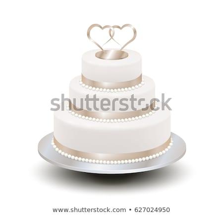 bolo · de · noiva · três · noiva · noivo · belo · amoroso - foto stock © brittenham