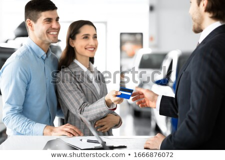 肖像 · 幸せ · 小さな · ビジネスマン · クレジットカード - ストックフォト © andreypopov