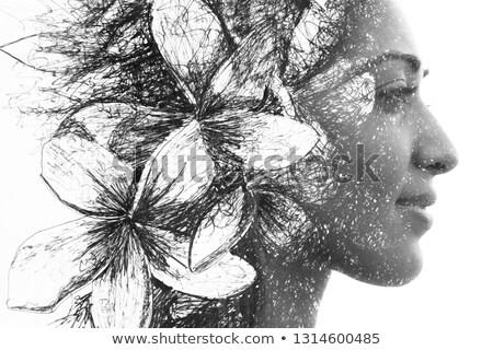 doble · exposición · mujer · perfil · árbol · follaje - foto stock © artjazz