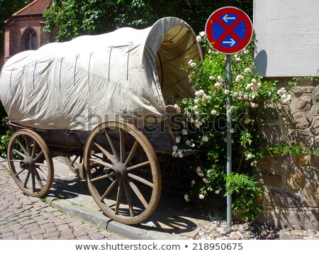 no parking sign and old wooden wagon Stock photo © PixelsAway