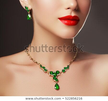 ネックレス エメラルド 緑 石 白 ストックフォト © RuslanOmega