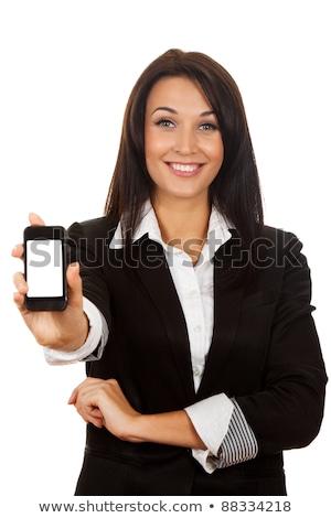 zwarte · vrouw · mobiele · telefoon · laptop · mooie · jonge · afro-amerikaanse - stockfoto © andreypopov