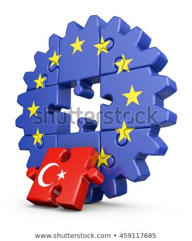 ヨーロッパの 組合 トルコ フラグ パズル 孤立した ストックフォト © Istanbul2009