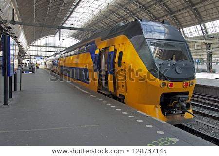 Foto stock: Amsterdam · estação · de · trem · noite · cidade · viajar · história